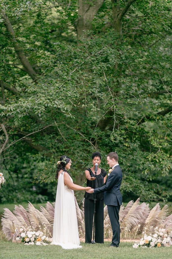 pampas grass circle for wedding ceremony