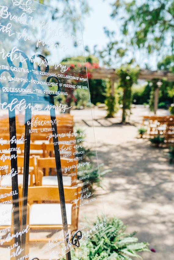 Acrylic ceremony signage