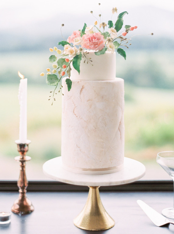 Delicate floral wedding cake
