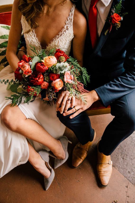 Rose and red winter wedding ideas