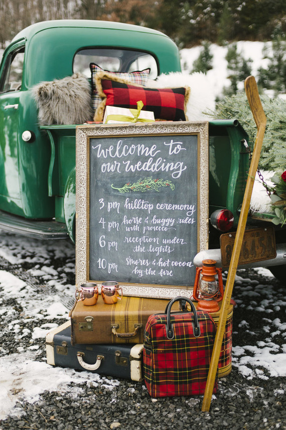 Snowy Christmas tree farm wedding ideas