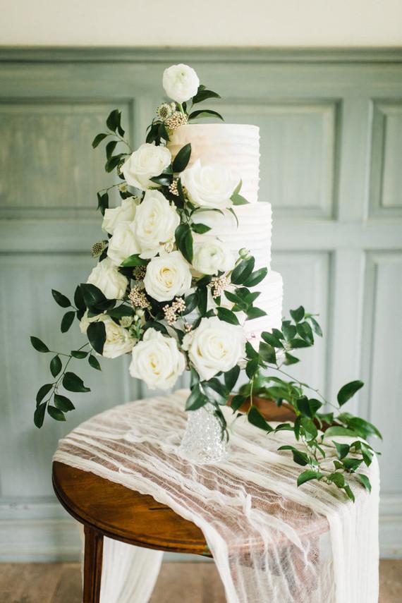 Elegant floral winter wedding cake on 100 Layer Cake