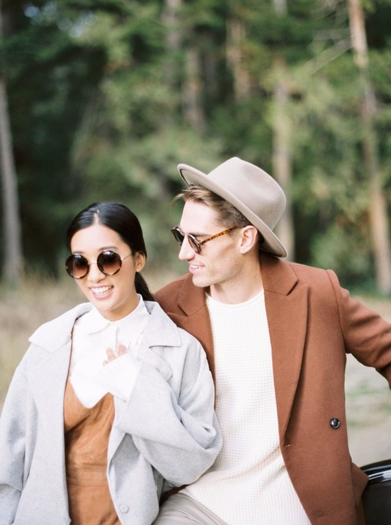 Stylish mod engagement photos on Galiano Island