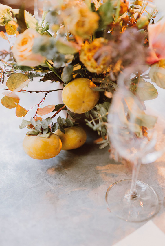 Modern fall florals with persimmons