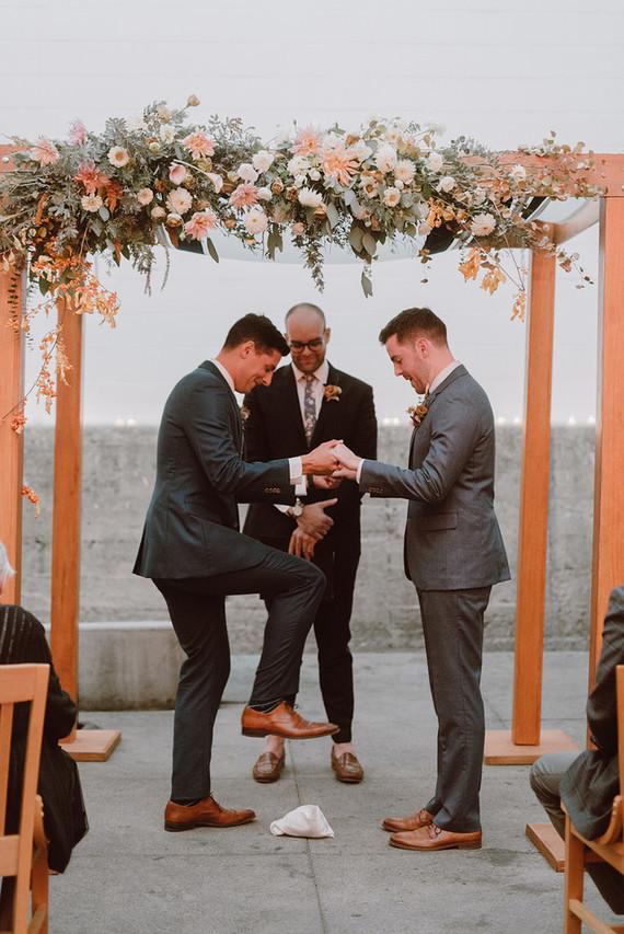 Modern same sex wedding at Foreign Cinema in San Francisco
