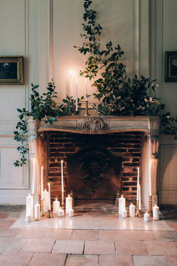 Intimate winter chateau wedding in France