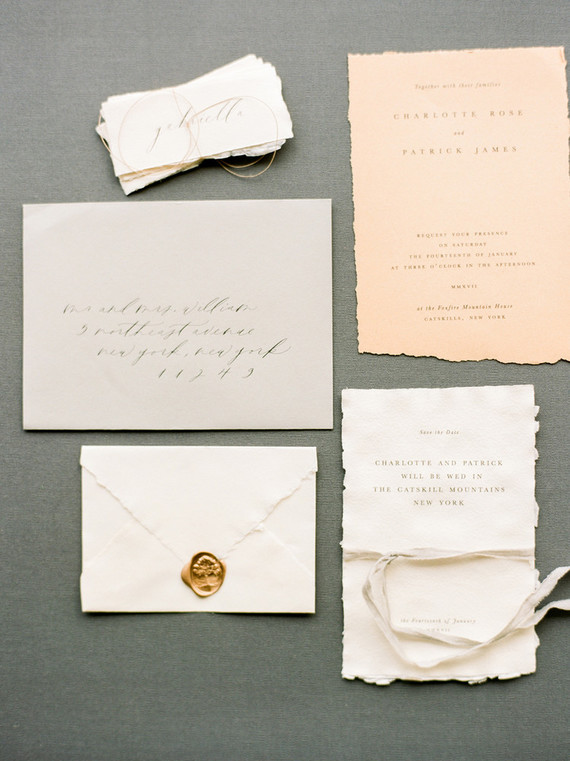 Simple chic peach wedding invitations