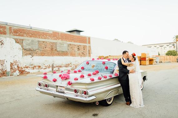 Vintage car wedding portraits