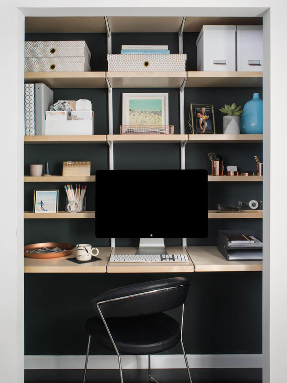 How to turn your closet into an office 100 layer cake - Container store home office ...