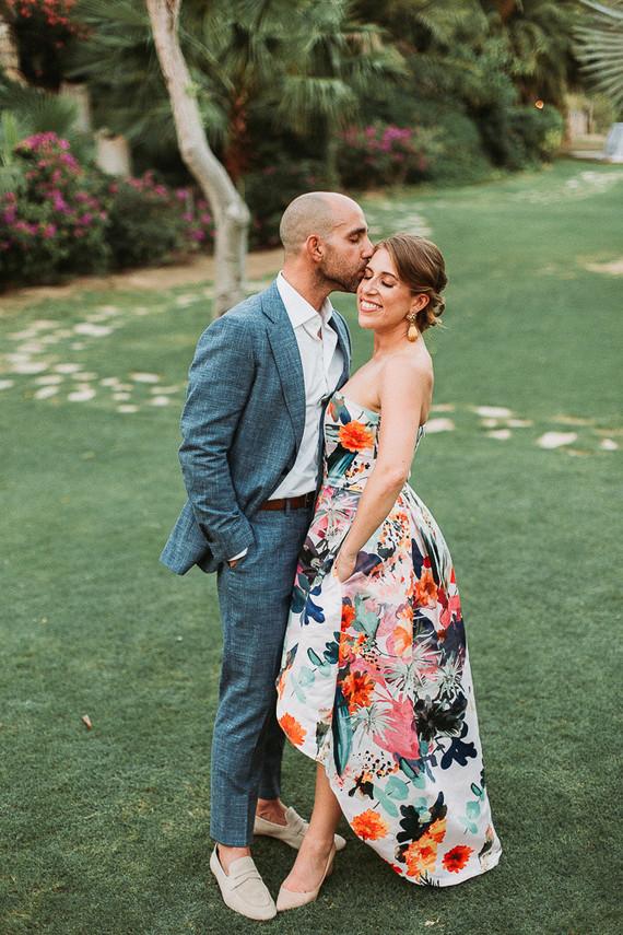 Stylish floral wedding reception dress