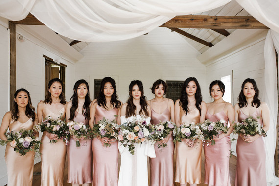 peach and blush bridesmaid dresses