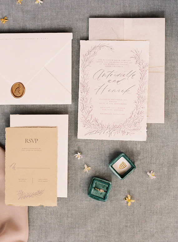 Elegant peach and emerald wedding invitations