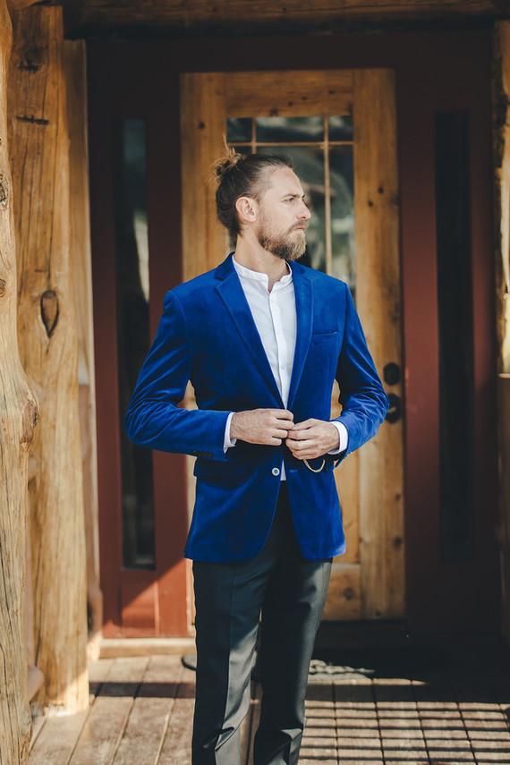 Blue indie groom's suit