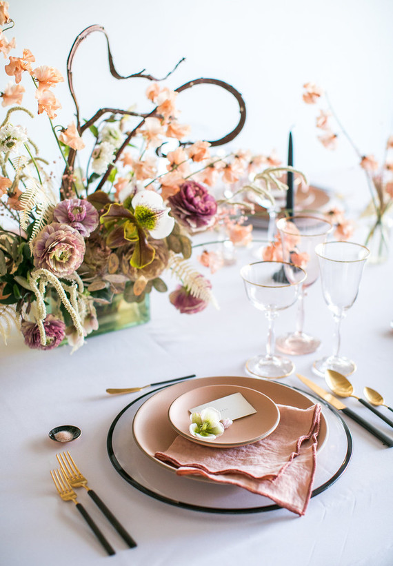 Pink and gold wedding decor