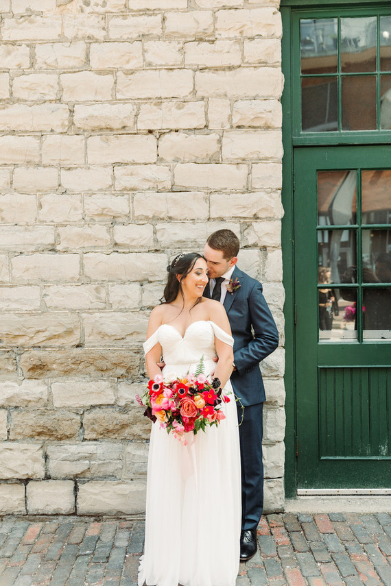 Bright whimsical Toronto Warehouse wedding