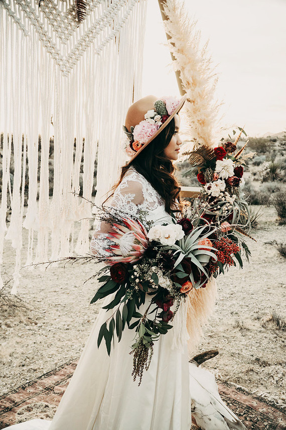 Boho desert elopement with geometric details
