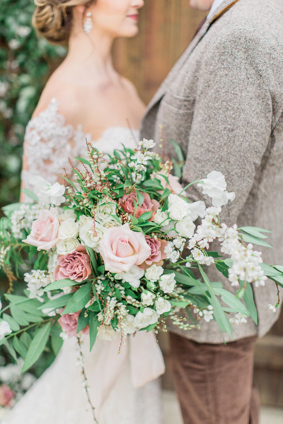Romantic pastel spring blossom estate wedding
