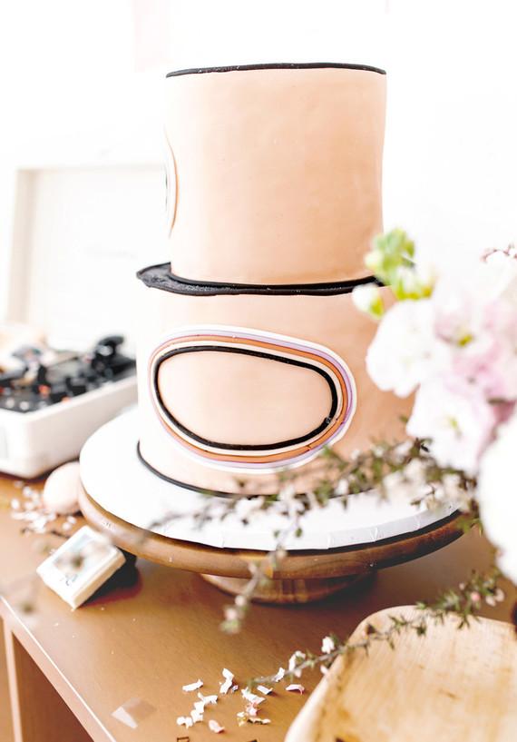 pastel blush modern cake