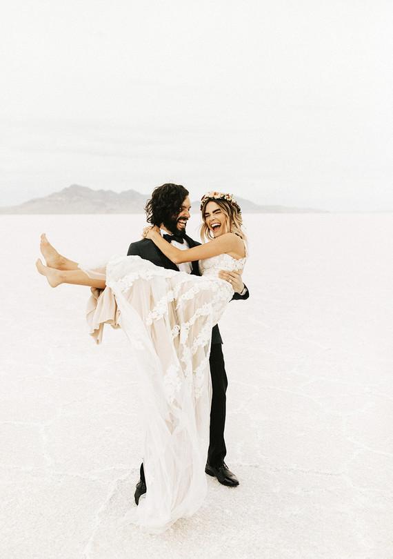 Salt flat wedding portraits