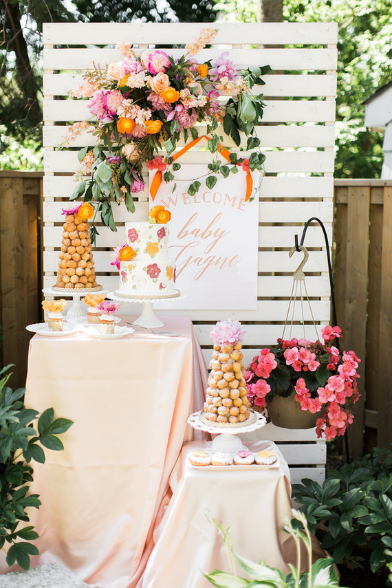 Floral feminine backyard baby shower