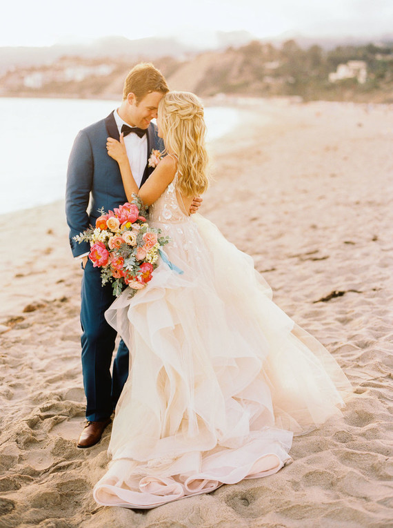 Colorful blush + blue Malibu wedding