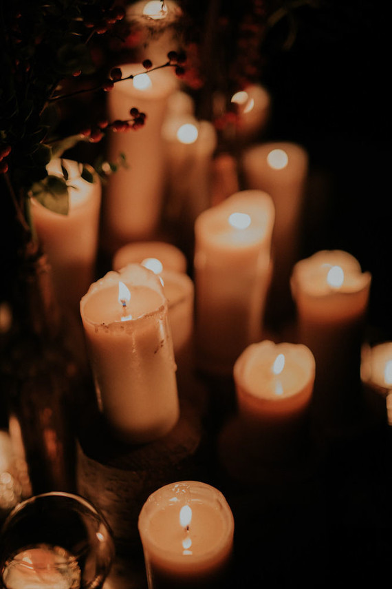 Dramatic candlelight autumn wedding in the French countryside
