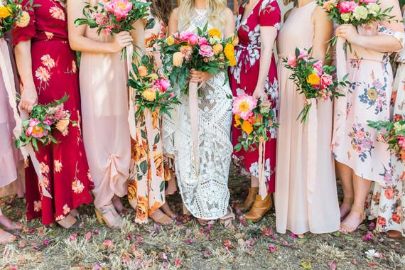 Mixed floral bridesmaid dresses