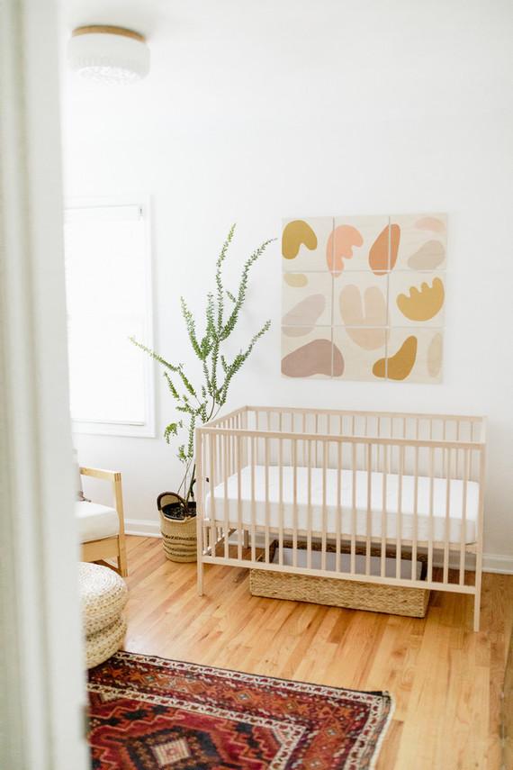 Earthy modern pastels for a baby boy's nursery in Portland from Paige Jones