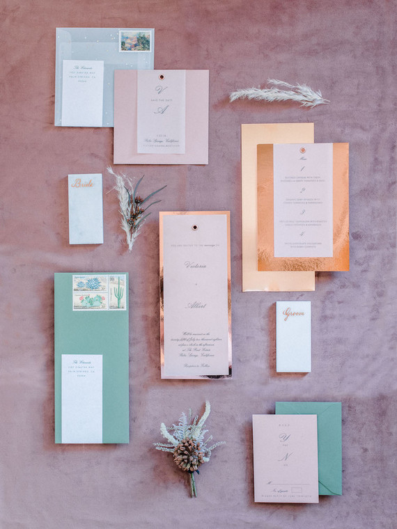 Copper leaf wedding invites