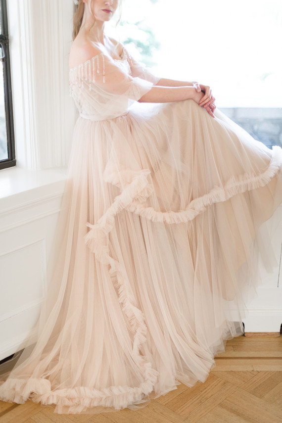 Ruffled bridal gown