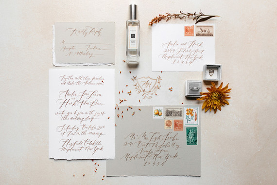 light fall wedding invitations