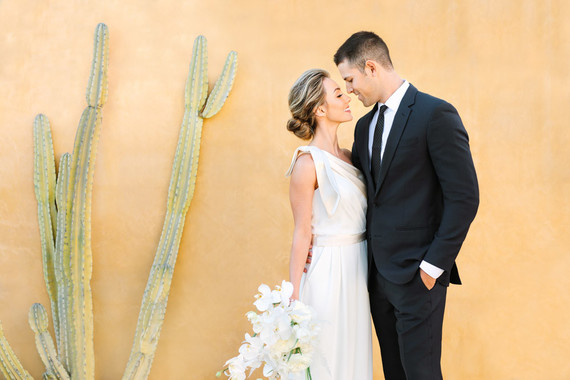 wedding portrait with cactus