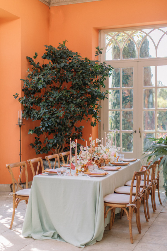 Modern stylish fairytale wedding in a dramatic English garden