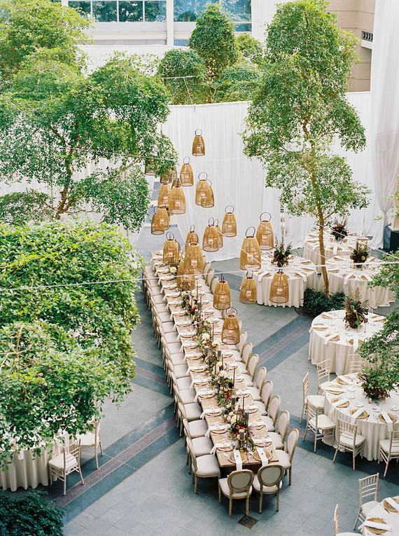 Amazing long reception table at The Wintergarden