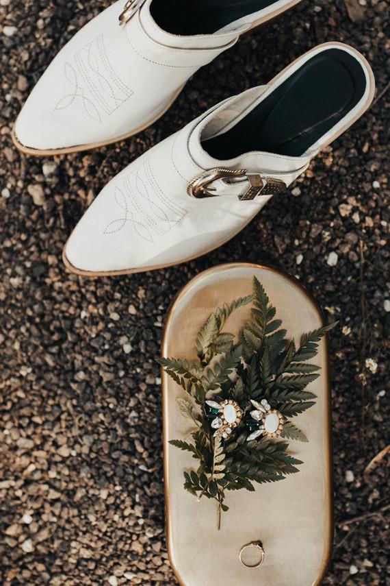 White bridal half boot for a Kansas City barn wedding
