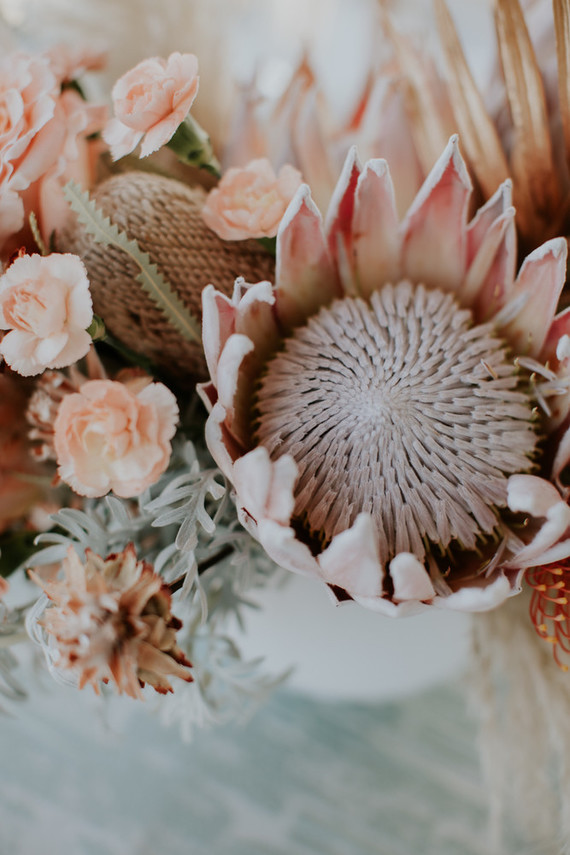 king protea wedding floral arrangement