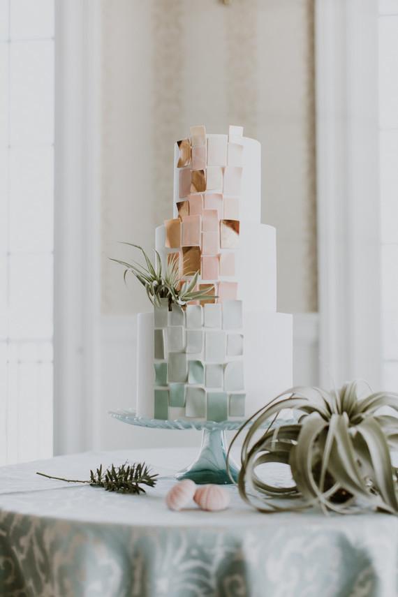 blush and pale mint wedding cake
