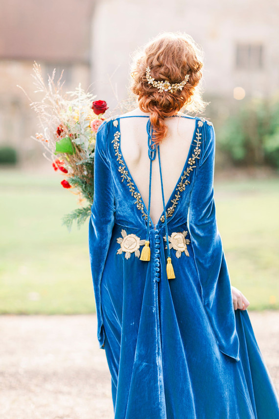 Blue velvet wedding gown