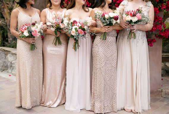 Neutral bridesmaid dresses with sparkle