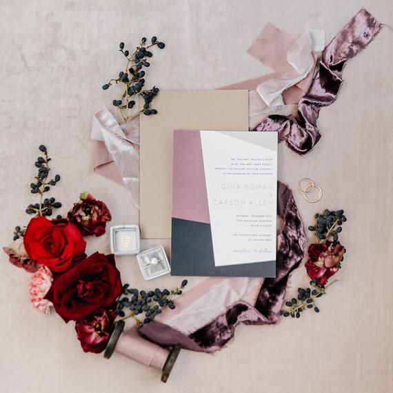Elegant winter wedding invites for an art gallery wedding