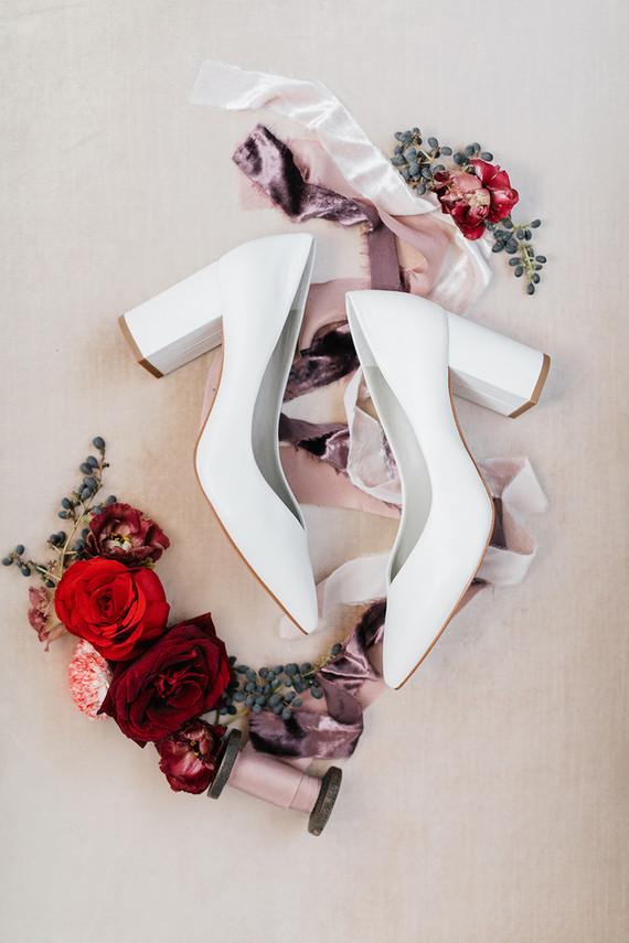 modern white wedding shoes