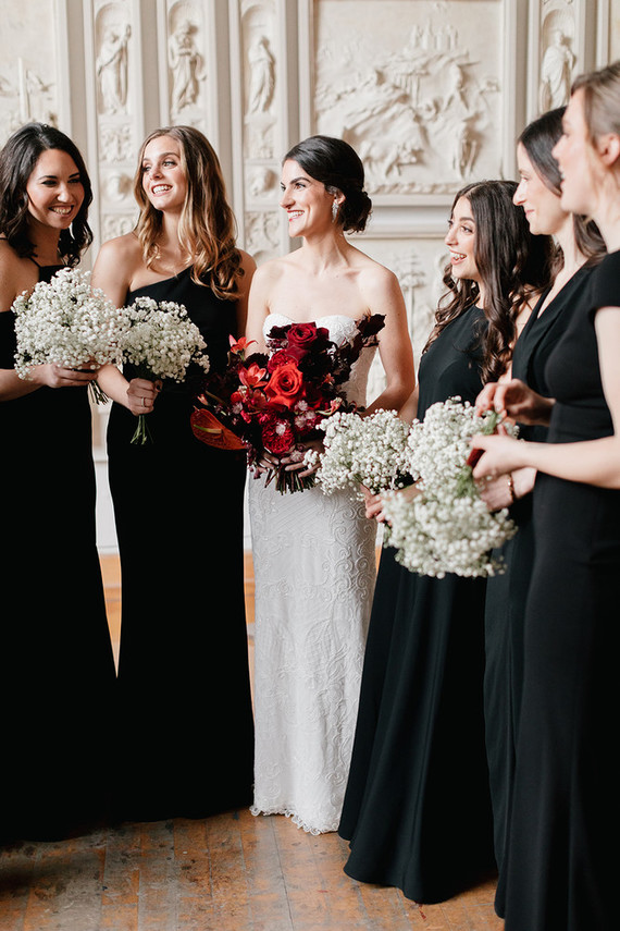 black bridesmaid dresses with baby's breath bouquets