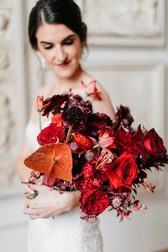 modern red bridal bouquet