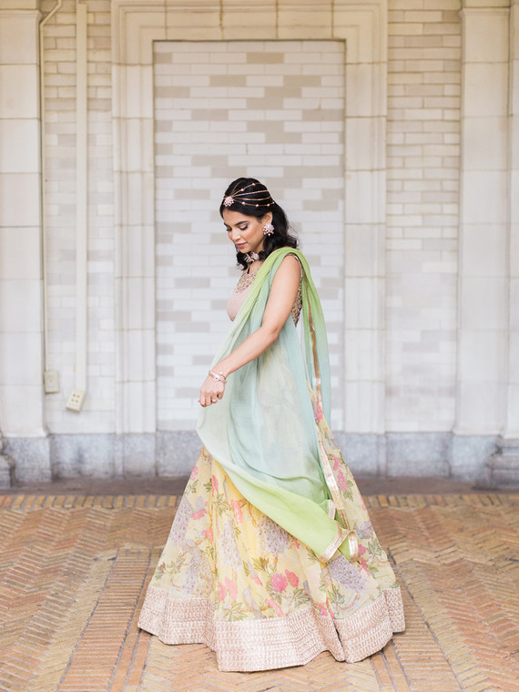 Pastel indian bridal editorial at the Prospect Park boathouse