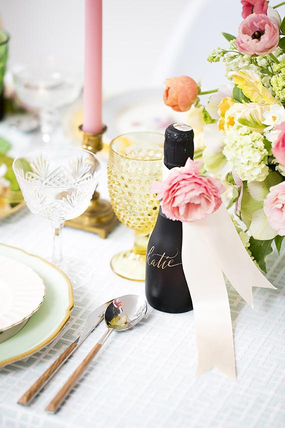 spring champagne escort card ideas