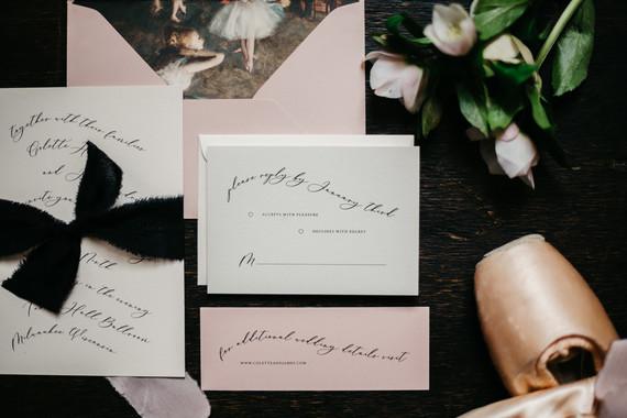 Moody winter Degas-inspired wedding invitations
