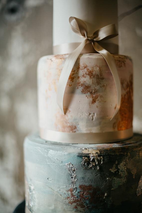 Artful wedding cake detail