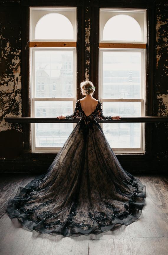 bride with a black wedding dress
