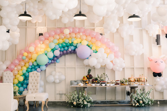 Sky themed first birthday party at the Lombardi House in Hollywood