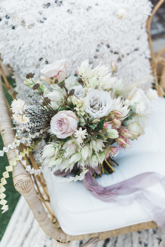 white boho bridal bouquet